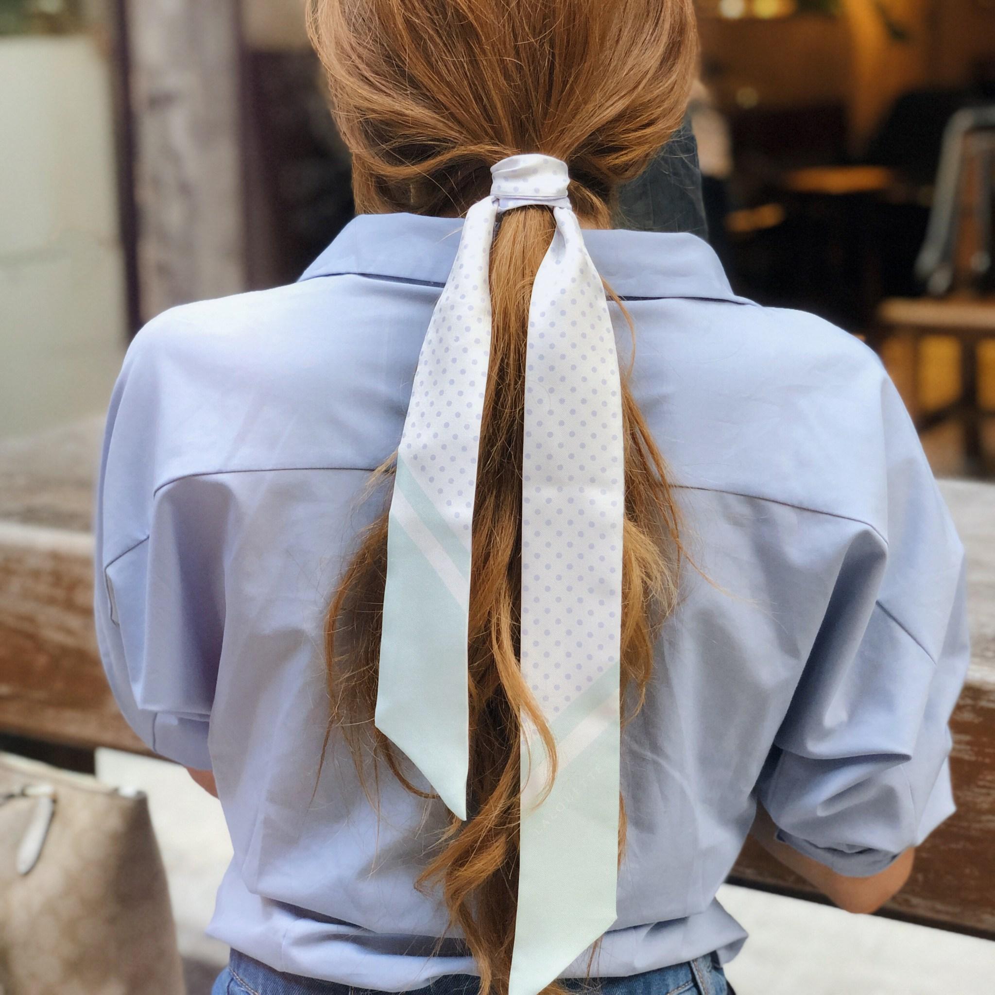 Lalouette Pastel Polka Dot Skinny Silk Scarf Hair Tie