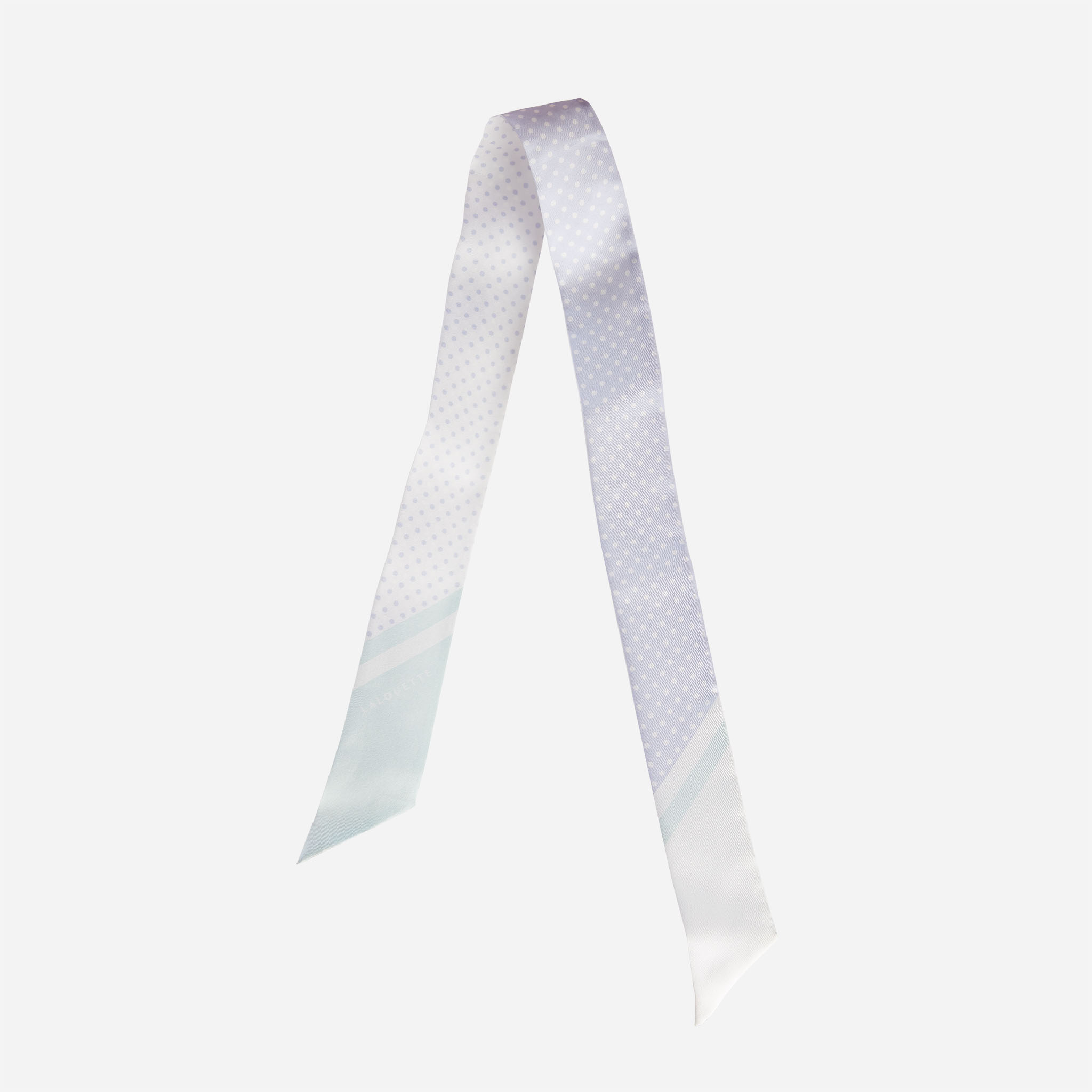 Lalouette pastel polka dot skinny silk scarf in air