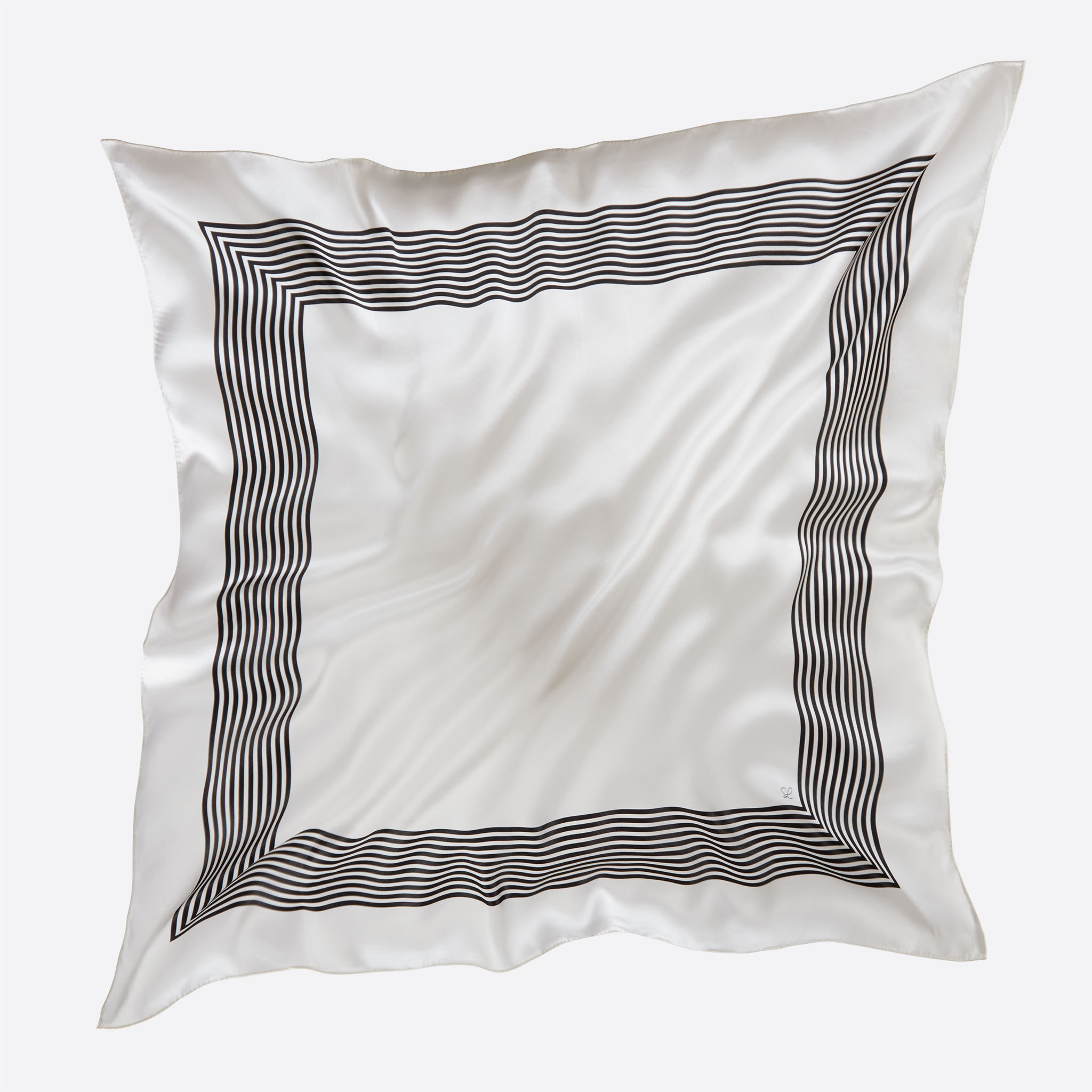 Lalouette white striped square silk scarf flying