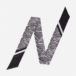 Lalouette zebra skinny silk scarf flat-lay