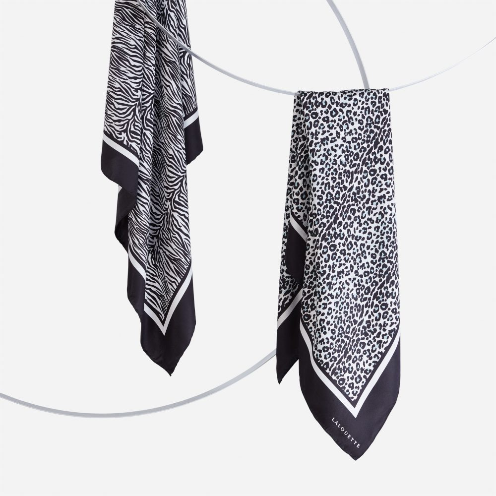 Lalouette zebra and snow leopard silk scarves