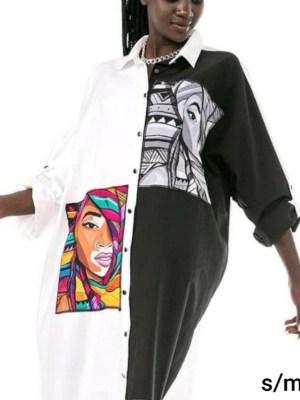 Ženska košulja tunika crno bijela