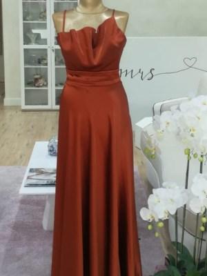 Ženska svečana haljina smeđa bretela
