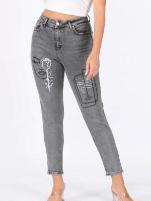 Ženske jeans hlače oslikane sive