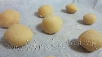 Forma delle palline di 15 g ciascuna e mettile sopra la teglia del forno foderata con carta forno