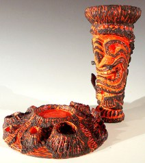 "11.25""X 8""X8"" Ceramic, Custom Glaze, Real Lava Rock"