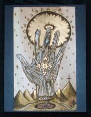 """7.5"""" x 12 """" unframed 14.5"""" x 11.5"""" framed Gold leaf & Acrylic on wood"""