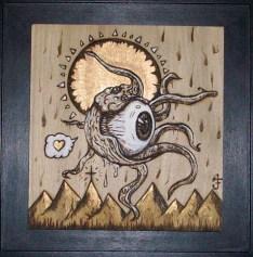 """7.75"""" x 7.5"""" unframed 10"""" x 10"""" framed Gold leaf & Acrylic on wood"""