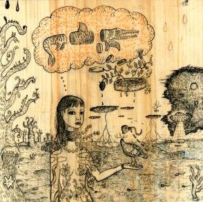 """12"""" x 12"""" unframed Ink on reclaimed wood"""