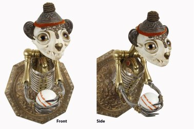 """Antique brass hardware and findings, bone, brass, silver, glove leather, glass eyes. 7"""" x 4"""" x 6"""" $3,800.00"""