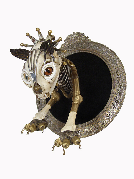 """Antique brass hardware and findings, brass, silver, velvet, wood, glove leather, glass eyes. 9"""" x 8"""" x 9"""" $4,500.00"""