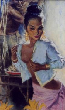 """by F. Van Wyck Mason (1963) Oil on board 8.5"""" x 14.5"""" in 14"""" x 20"""" frame $2,000.00 Sold"""