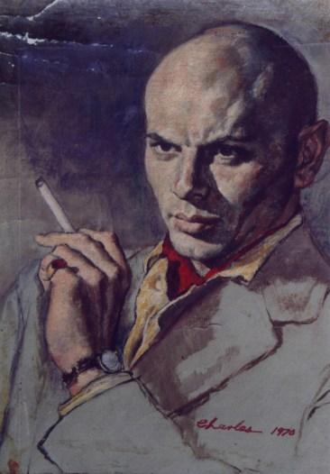 """(1970 studio portrait) Oil on canvas paper 12"""" x 15"""" (plus frame) $1,800.00 Sold"""
