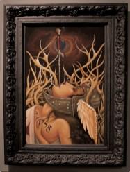 "Acrylic on wood 24"" x 36"" in 35"" x 46.5"" frame $3,800.00"