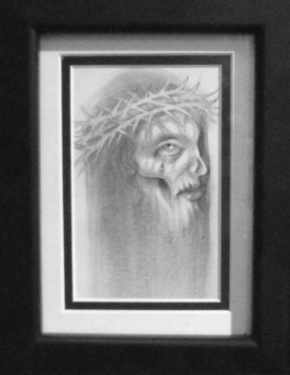 "Graphite on paper 3.5"" x 5"" in 7.5"" x 9.5"" frame $180.00"