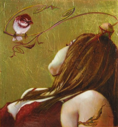 """Oil on gold-leafed panel 10"""" x 10.75"""" $1,100.00"""
