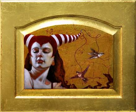 """Oil on gold-leafed panel, framed 13.5"""" x 9.75"""" $1,250.00"""