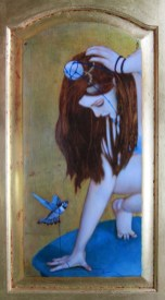 """Oil on gold-leafed panel 10.5"""" x 22.25"""" $1,800.00"""