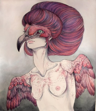 """Pencil, ink & watercolor on paper 23"""" x 25"""" $600.00 Sold"""