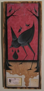 """Mixed media on wood 8.25"""" x 19"""" $250.00 Sold"""