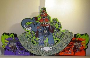 """Triptych Acrylic on MDF/Wood, foam and brass parts 55"""" x 29"""" x 6"""" $4,000.00"""