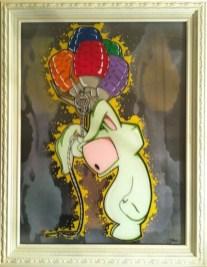 """Acrylic on plexi, aerosol on canvas 18"""" x 24"""" in 20"""" x 26"""" frame $600.00 Sold"""