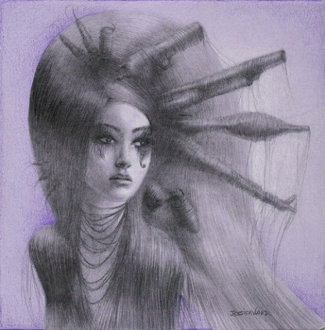 "Graphite, color pencil, chalk pastel on paper 5"" x 5"" in 7"" x 7"" frame $200.00"