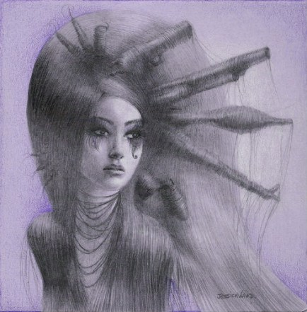 """Graphite, color pencil, chalk pastel on paper 5"""" x 5"""" in 7"""" x 7"""" frame $200.00"""