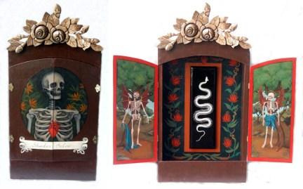 """Snake skeleton, acrylic on mahogany, velvet, ornament 26"""" x 28"""" x 5"""" $600.00"""