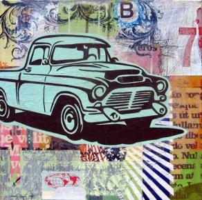 "Acrylic and mixed-media on canvas 20"" x 20"" $700.00"