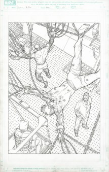 "ssue #497, Page 22: X-Men Divided Wolverine, Colossus & Nightcrawler Splash Page Graphite on board 11"" x 17"" Sold"