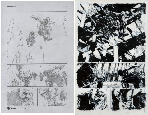 """Issue #500, Page 27: Half Splash, Kingpin, Izo, Graphite on paper and ink on board 11"""" x 17"""" (x 2) Sold"""