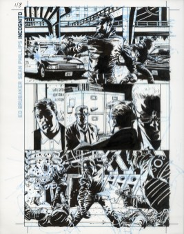 """Issue #1, Page 8: Overkill Origins Ink and blue-line on board 11"""" x 17"""" $700.00"""