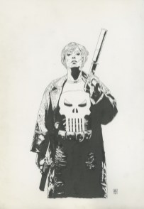 """Punisher #49, Cover: Widowmaker conclusion Graphite and ink on board 11.5"""" x 17"""" $1,200.00"""