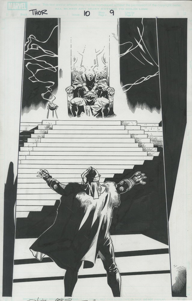 "Issue #10, Page 9: Splash Page Balder Confronts Thor in the Throne Room Graphite and ink on board 11"" x 17"" $1,500.00"