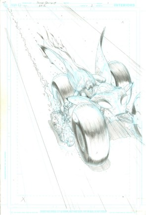 "Issue #3, Page 1: Batman Action Vehicle Splash Page Graphite on board 11"" x 17"" $3,000.00"
