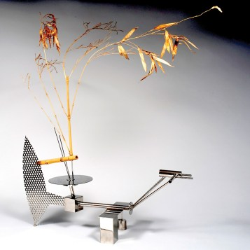 """Stainless steel and bamboo 19.5"""" x 22"""" x 44"""" $15,000.00"""
