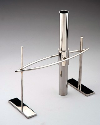 """Stainless steel and enamel 10.75"""" x 4.5"""" x 10.5"""" $3,000.00"""