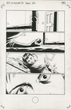 "Issue #14, Page 24: Cyclops Loses His Powers Graphite and ink on board 11"" x 17"" $1,000.00"