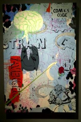 "Acrylic and cel vinyl on panel 40"" x 60"" $4,500.00"