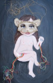 "Acrylic, linen, embroidery thread, on paper 12"" x 18"" $1,000.00 Sold"