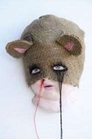 "Burlap, acrylic, thread, sculpture 3"" x 5"" $400.00 Sold"