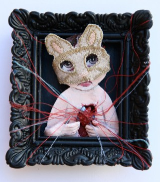 "Acrylic, linen, embroidery thread, on paper 2.5"" x 3"" $375.00 Sold"