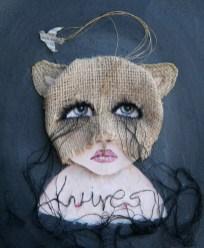 "Acrylic, burlap, embroidery thread, on paper 8"" x 10"" $650.00"