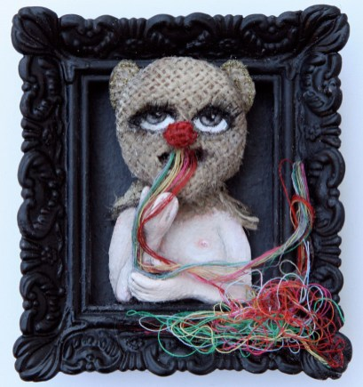 "Acrylic, linen, embroidery thread, on paper 2.5"" x 3"" $375.00"