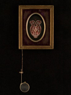 "Oil on canvas with chain and magnifying glass 3.5"" x 4.5"" $350.00 Sold"