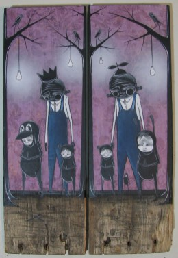 """Mixed media on wood Dyptych 11"""" x 16.25"""" $400.00 Sold"""