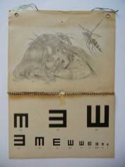 "Graphite on antique optometrist's chart 14"" x 19"" $3,000.00"