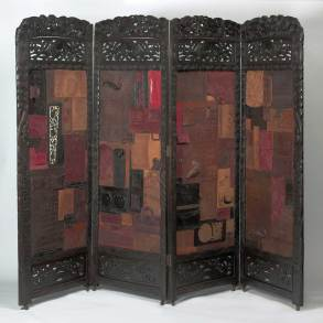 "Found screen with found Mexican leather & US alligator handbag collage 4 panels, 25"" x 72"", 72"" total $5,000.00"