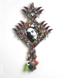 """Beads, buttons, and found objects on wood panel 17"""" x 25"""" $2,400.00"""